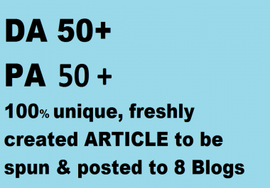 8 Blog posts on DA 50+, PA 50+ blog posts on PBN(of web2.0)