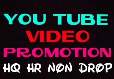 Deliver HQ, HR, NON DROP YouTube video promotion professionally
