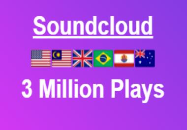 3 Million Soundcloud High Retention Plays + 500 Likes + 300 Repost