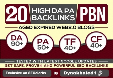 20 PBN high Da Pa Tf Cf on home pages of aged expired web 2.0s blogs