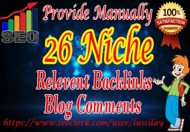 post 26 Niche Relevant Backlinks Blogcomment on high PA DA