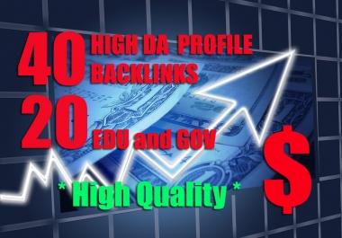 Manual 40 HIGH DA + 20 EDU/GOV Profile Backlinks to Boost Ranking of Website or Youtube Video