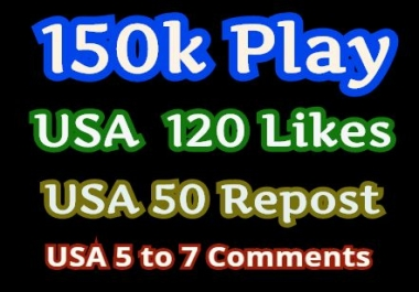 Get high retention Audio Music 1,50,000 Play, 720 Llkes, 500 Rep0st, 50 C0mments