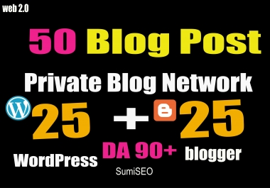 Permanent 50 PBN- Blog POST WordPress and Blogger 90 High DA