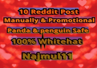 i Wiil do 10 Reddit Post Links to My Account 10 Different SubReddit