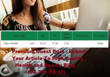 Premium Guest Post - Submit Your Article To High Quality Health and Beauty Blog (DA 20+/PA 32)