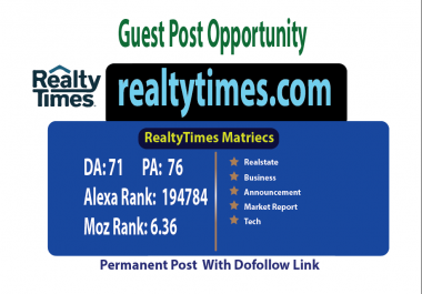 Write And Publish Guest Post On Realtytimes Da 71