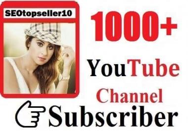 1000+ Youtube real  subs'criber  non drop guaranteed just