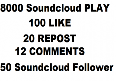 8000 soundcloud play+50 follower+100 like+20 repost+12 comments