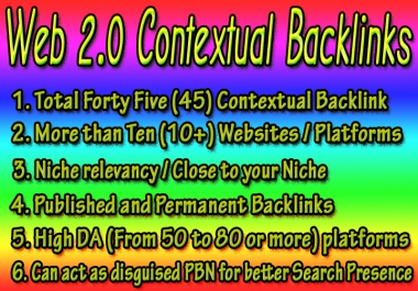 45 Permanent Web 2.0 Contextual Backlinks from High DA Platforms