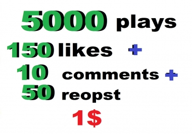 5000 usa soundcloud plays 150 likes 50 repost and 15 comments