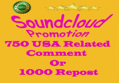 750 Soundcloud HQ Comments Or 1000 Repost Instant work