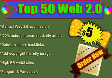 create 100% What Hat  SEO Service 50 web 2.0 backlinks for google ranking