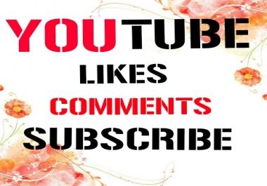 250 Y0U TUBE Likes+ 10 Y0U TUBE Custom Comments + 10 Y0U TUBE Subscriber