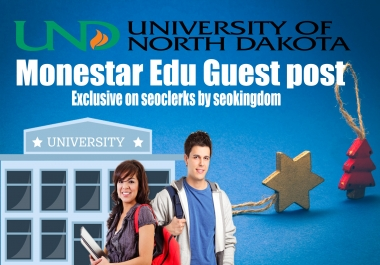 2018 Updated Monestar Edu Guest post on University of North Dakota - DA81 & PA46 Dofollow backlinks