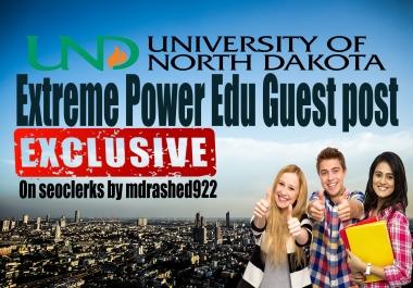 Extreme Power Edu Guest post on University of North Dakota Education blog DA81 & dofollow backlinks
