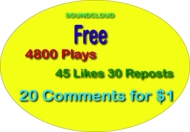 4800 Soundcloud Plays 45 Likes 30 Reposts 20 Comments within 12 hrs...