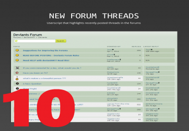 10 New Threads / Topics On Your Forum