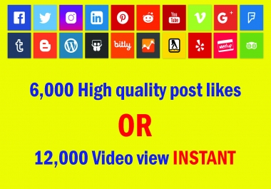 Instant 6,000 High quality Social media photo like or 12,000 video view Life Time Guaranteed