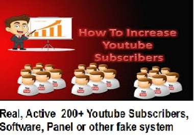 Real, Active ,  youtube Subscribers ++300 without any Bot, Software, Panel or other fake system