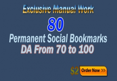 Manually provide 80 high DA PR Authority Top Social Bookmarks Backlinks to Boost your sites