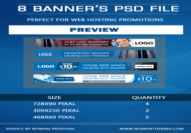 Get 8 Banner's PSD File