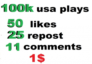 100k usa soundcloud plays 50 likes 25 repost 11 comments within 24 hour