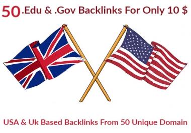 Manually create 50 USA & UK edu & gov backlinks to boost seo rankings
