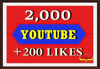 2,000 High Retention Youtube Views+ 200 Likes