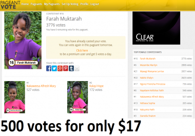 Manage for you 500 pageantvote.es votes for your pageants Contest