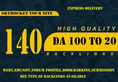 do 140+ DOFOLLOW High PR1-PR7 or DA 30+ Highly Authorized Google Dominating BACKLINKS