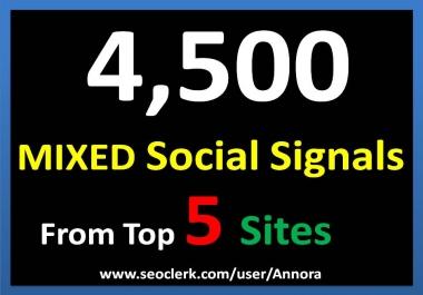 4500 Social Signals Come From Top 5 Social Media Sites PR9 Pinterest Google Plus Social Bookmark