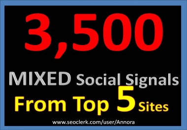 3500 Social Signals Come From Top 5 Social Media Sites PR9 Pinterest Google Plus Social Bookmark