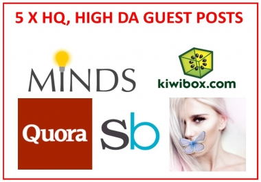 5 x HQ, High-DA Guest Post Combo Pack 1