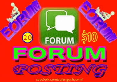 guaranteed 20 High quality forum posts your site google 1st page rank service