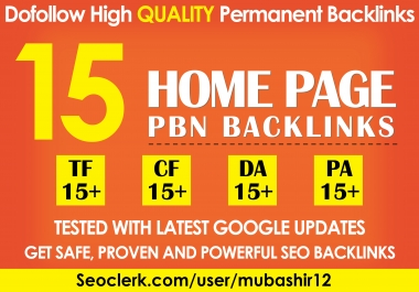Do 15 High Tf Cf Permanent Homepage Pbn Backlinks