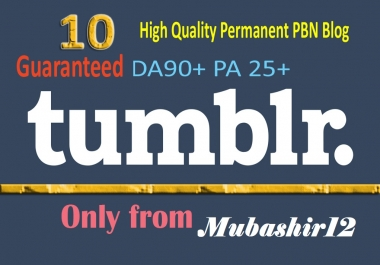 10 Permanent Aged Tumblr Pbn Backlinks With Guaranteed Pa 25+ and DA 90+