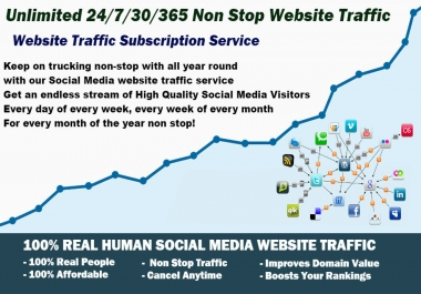 Unlimited Website Traffic Subscription Service - 24/7/30/365 Website Traffic