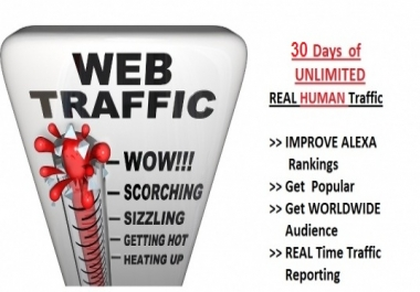UNLIMITED TRAFFIC HUMAN BY Twitter  Google inst, and more to website for 1 month for