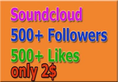 Guaranteed Non Drop 500 Soundcloud F0ll0wers OR li-ke