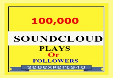 100,000 Soundcloud Play Non Drop Or 100 Folllowers To Your Soundcloud Track