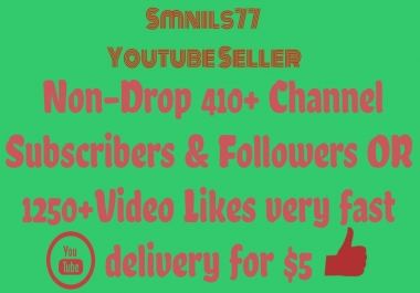 Non-Drop 410+Channel Subscribers & Followers OR 1250+Video Likes very fast delivery
