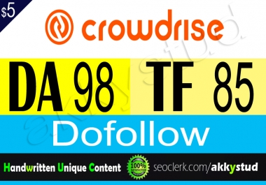 "write and publish unique guest post on ""Crowdrise"" tf 85"