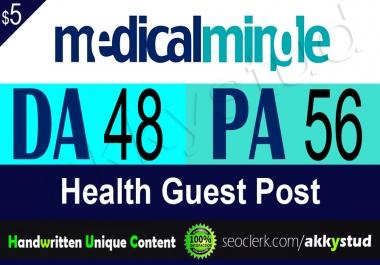 """write and publish guest post on health niche """"MedicalMingle"""" DA-48"""