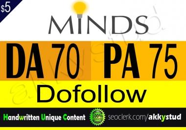 """write and publish unique guest post on """"Minds"""" DA-70"""