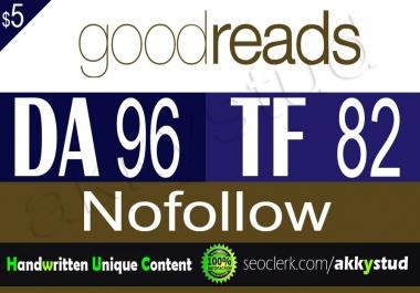 """write and publish unique guest post on """"goodreads"""" DA-96"""