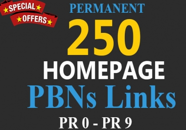 Permanent HOMEPAGE 250 PBNs backlink - Blast your ranking
