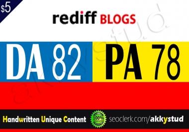 Write And Publish Unique Guest Post On Rediff Blogs Da 82