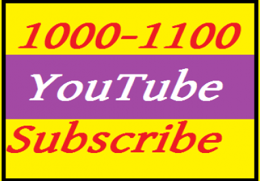 1000 YouTube real channel subscribe  nondrop  very fast