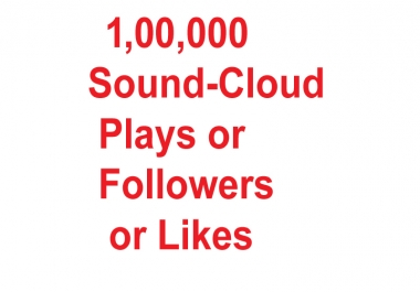 Buy 1,00,000+ Real Active Sound-Cloud Plays Or 5000+ Follo-wers or Likes